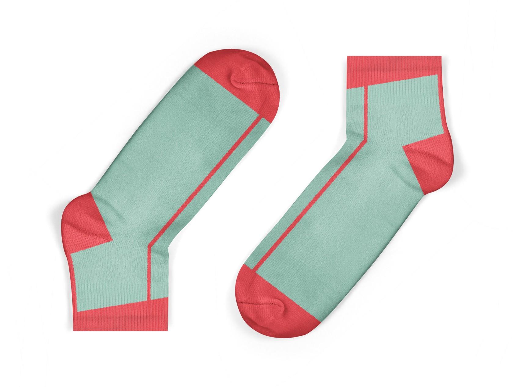 coral stripe kids socks