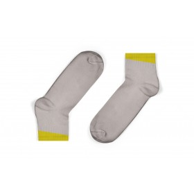 GREY ANKLE SOCKS WITH MUSTARD ANGLED CUFF